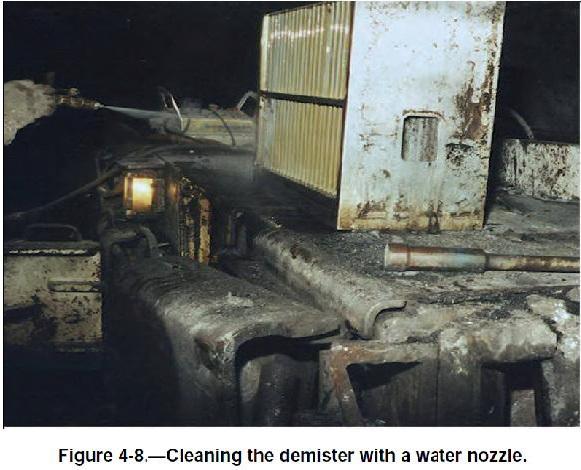 Файл:Обеспыливание при добыче угля в шахтах США. Фиг. 4.8 Очистка туманоуловителя струей воды.jpg