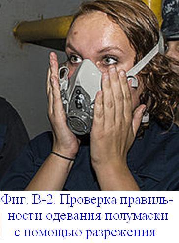 Файл:Фиг. В-2. Проверка правильности одевания полумаски с помощью разрежения.JPG