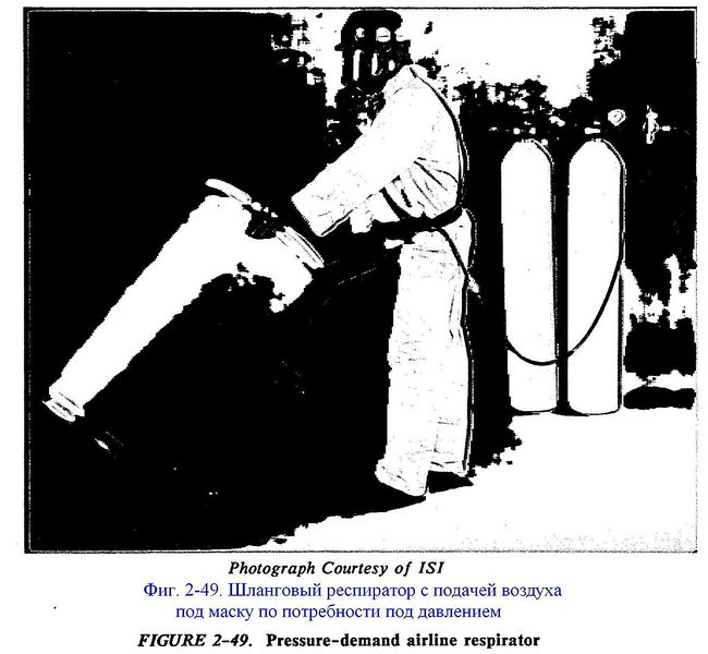 Файл:Фиг. 2-49. Шланговый респиратор с подачей воздуха под маску по потребности под давлением.JPG