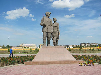 Шахтинск, Казахстан. Памятник шахтерской семье (установлен после взрыва 20.09.2006 на ш. им. Ленина)