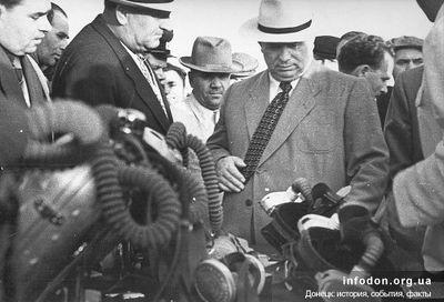 Н.С. Хрущев в гостях у горноспасателей. 1956 г.