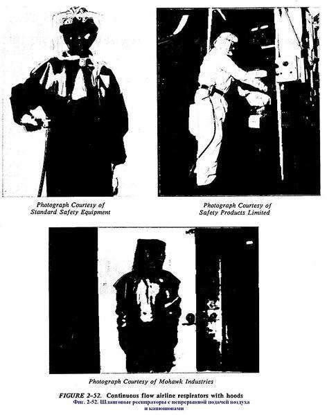 Файл:Фиг. 2-52. Шланговые респираторы с непрерывной подачей воздуха и капюшонами.JPG