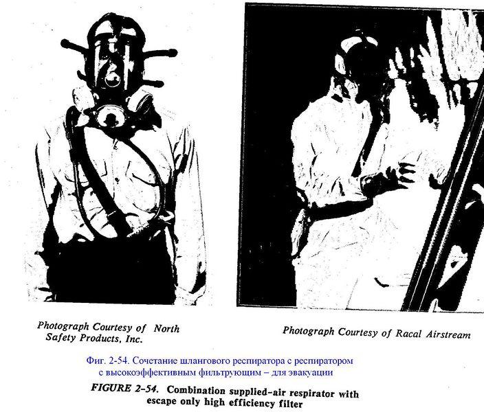 Файл:Фиг. 2-54. Сочетание шлангового респиратора с СИЗОД с высокоэффективным противоаэрозольным фильтром.JPG